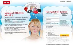 Thorn - Låna pengar direkt på internet upp till 50,000 kronor.